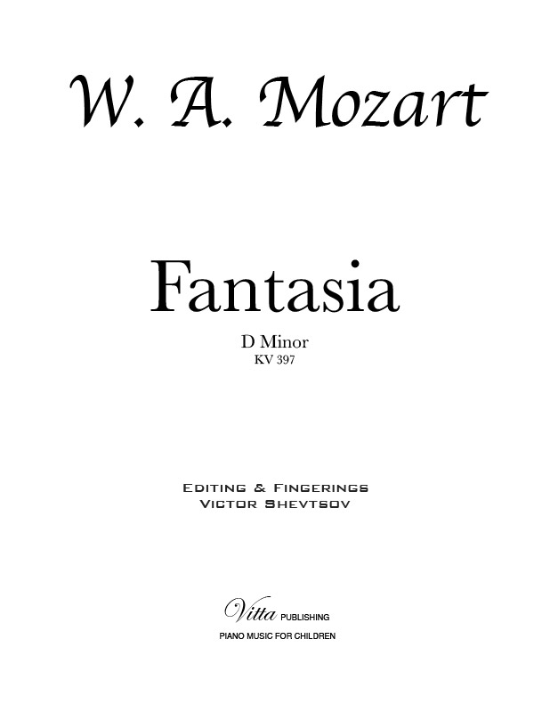 W A Mozart Fantasia In D Minor K 397 Piano Solo 9 Pages Piano Sheet Music