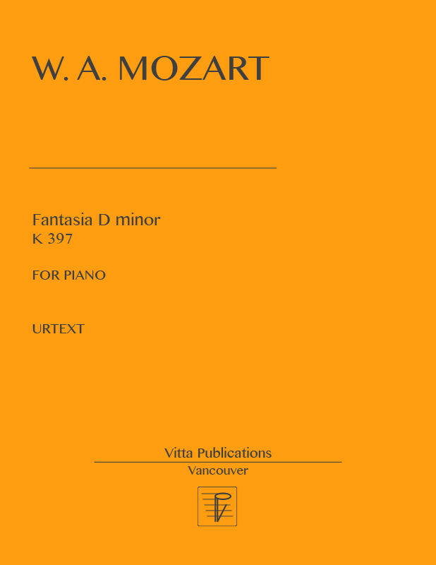 Mozart Fantasia In D Minor K 397 Urtext Piano Sheet Music